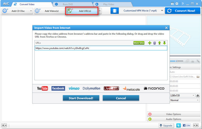 Add URLs and start downloading