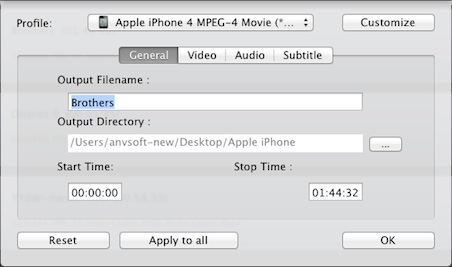 output settings of Any Video Converter Free for Mac