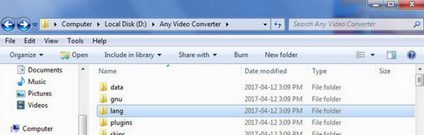 Go to the program files folder of Any Video Converter