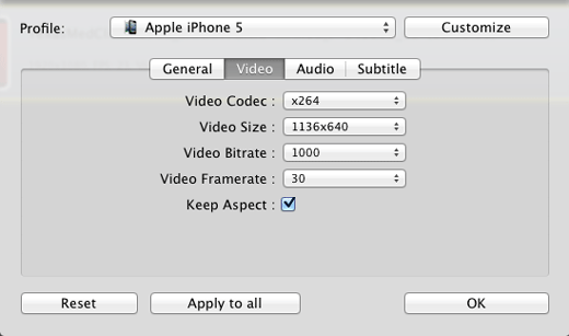 video settings of target video